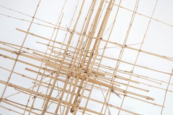 Sculpture 3 - 2016 - Bambous, fil de fer - L 134 x H 139 x P 51 cm.
