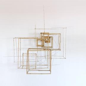 Sculpture 7 - 2018 - Bambous, fil de fer, ficelle de chanvre - L 100 x H 96 x P 88 cm.