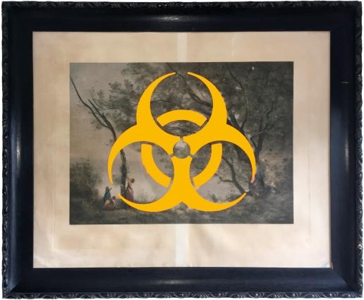 Pictogramme des risques biologiques bombé sur une phototypie originale BRAUN CLEMENT & Cie de 1890 représentant un paysage de Corot, sauvée de la déchèterie. Cadre bois peint en noir. 108 x 89 cm.